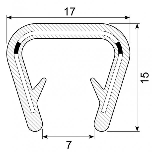 gummi kantliste u profil 15 17 8 13 mm. Black Bedroom Furniture Sets. Home Design Ideas